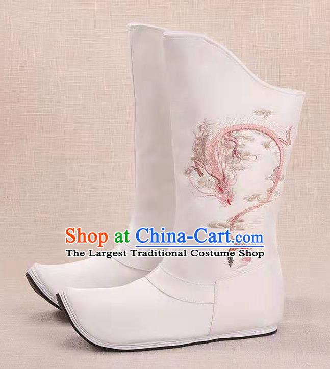 Traditional Chinese Embroidered Dragon White Boots Kung Fu Boots Opera Shoes Hanfu Shoes for Women