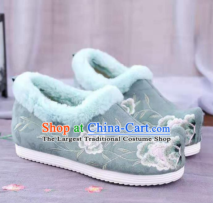 Chinese Winter Embroidered Green Shoes Hanfu Shoes Women Shoes Opera Shoes Princess Shoes