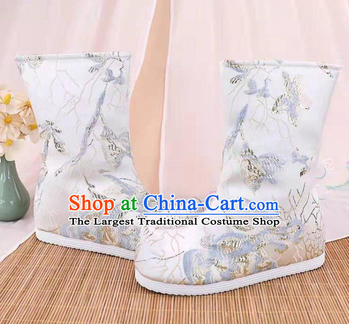 Traditional Chinese Embroidered White Boots Kung Fu Boots Opera Shoes Hanfu Shoes for Women