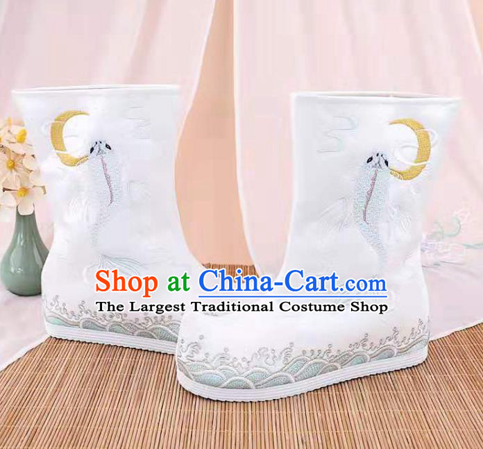 Traditional Chinese Embroidered Fish White Boots Kung Fu Boots Opera Shoes Hanfu Shoes for Women