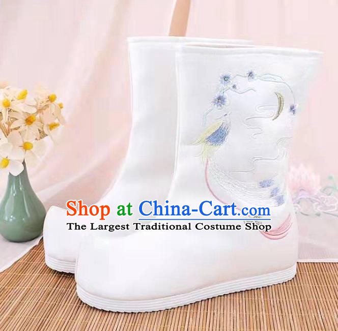 Traditional Chinese Embroidered Bird White Boots Kung Fu Boots Opera Shoes Hanfu Shoes for Women