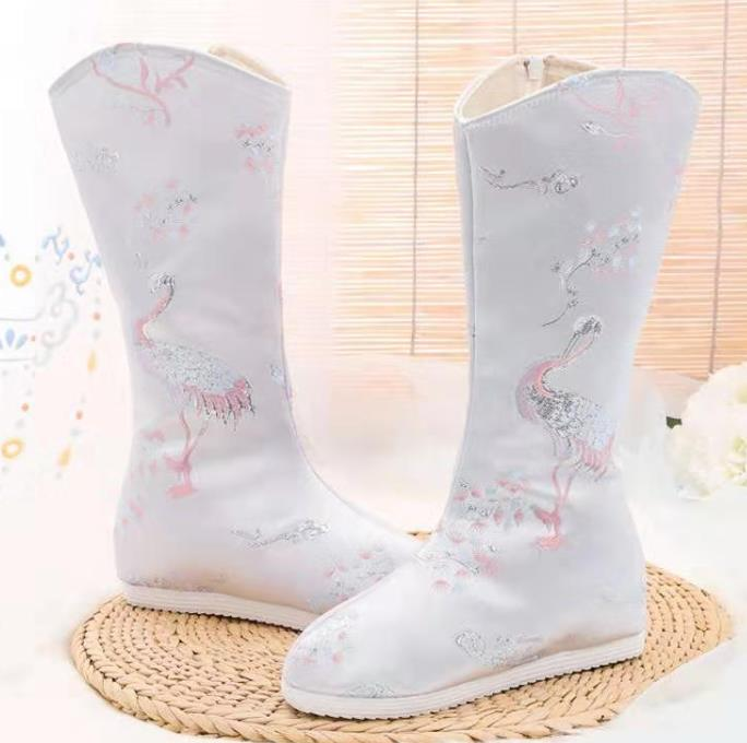 Chinese Kung Fu Boots Opera Shoes Hanfu Shoes Embroidered Crane White Boots for Women