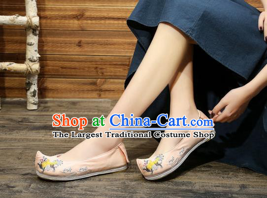 Chinese Embroidered Lion Pink Shoes Hanfu Shoes Women Shoes Opera Shoes Princess Shoes