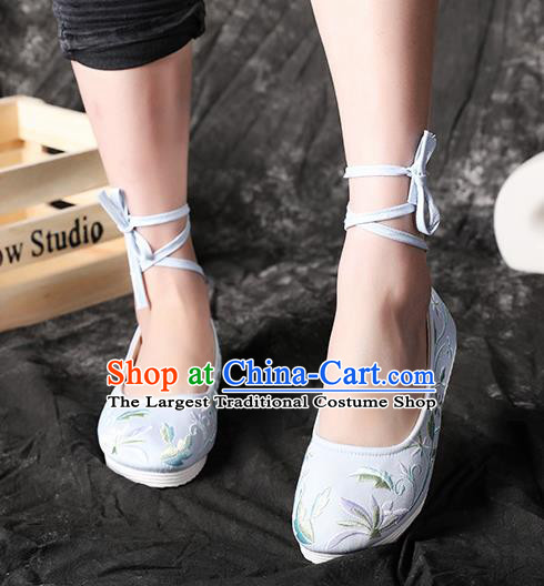 Chinese Embroidered Light Blue Shoes Hanfu Shoes Women Shoes Opera Shoes Princess Shoes