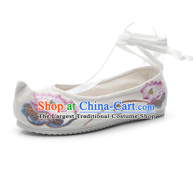 Traditional Chinese Embroidered Lotus Beige Shoes Hanfu Shoes Women Shoes Opera Shoes Princess Shoes