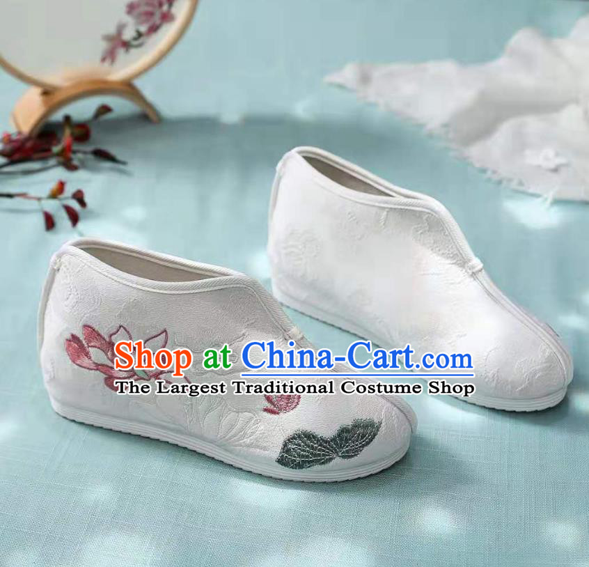 Chinese White Embroidered Lotus Shoes Hanfu Shoes Women Shoes Opera Shoes Princess Shoes