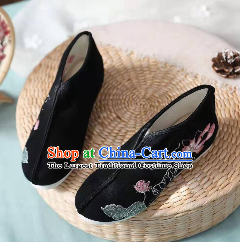 Chinese Black Embroidered Lotus Shoes Hanfu Shoes Women Shoes Opera Shoes Princess Shoes