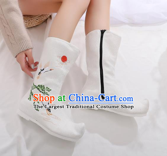 Traditional Chinese Kung Fu White Boots Opera Shoes Hanfu Shoes Embroidered Crane Boots for Women