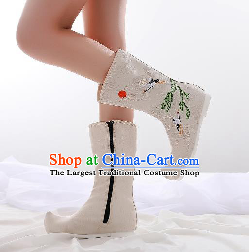 Traditional Chinese Kung Fu Beige Boots Opera Shoes Hanfu Shoes Embroidered Crane Boots for Women