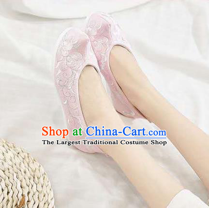 Chinese Hanfu Pink Shoes Women Shoes Opera Shoes Embroidered Shoes Princess Shoes