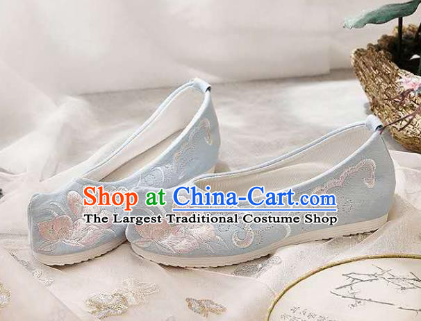 Chinese Hanfu Light Blue Shoes Women Shoes Opera Shoes Embroidered Shoes Princess Shoes
