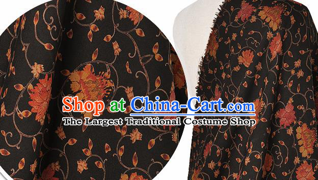 Chinese Classical Twine Lotus Pattern Design Black Silk Fabric Asian Traditional Hanfu Mulberry Silk Material