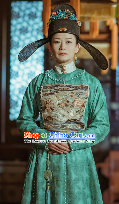 Ancient Chinese Drama Ming Dynasty Court Female Official Hu Shangyi Replica Costumes and Headpiece Complete Set