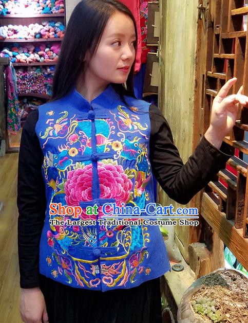 Traditional Chinese Embroidered Dragon Peony Blue Vest National Waistcoat Costume for Women