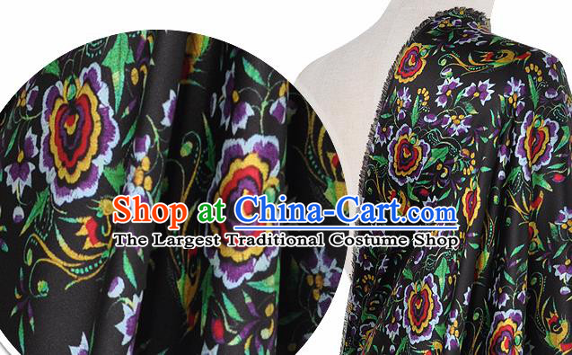 Chinese Classical Phoenix Flowers Pattern Design Black Silk Fabric Asian Traditional Hanfu Mulberry Silk Material