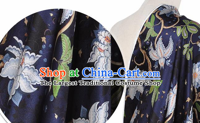 Chinese Classical Equinox Flower Pattern Design Navy Silk Fabric Asian Traditional Hanfu Mulberry Silk Material