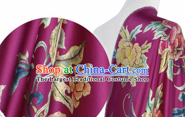 Chinese Classical Peony Pattern Design Amaranth Silk Fabric Asian Traditional Hanfu Mulberry Silk Material
