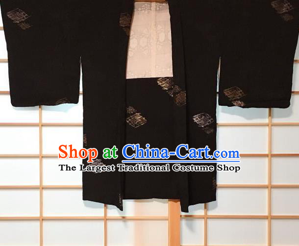 Japanese Traditional Embroidered Diamond Pattern Black Haori Jacket Japan Kimono Overwear Costume for Men