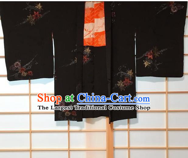 Japanese Traditional Embroidered Maple Leaf Pattern Black Haori Jacket Japan Kimono Overwear Costume for Men