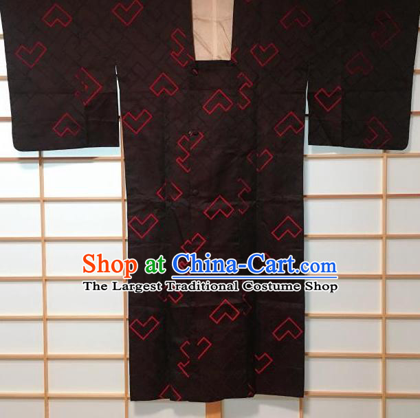 Japanese Traditional Black Silk Haori Jacket Japan Kimono Overwear Costume for Men