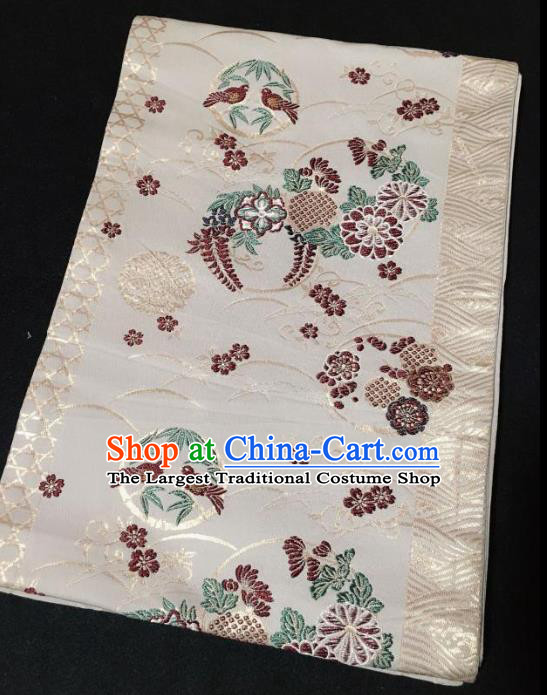 Japanese Traditional Embroidered Flower Bird Beige Brocade Waistband Japan Kimono Yukata Belt for Women