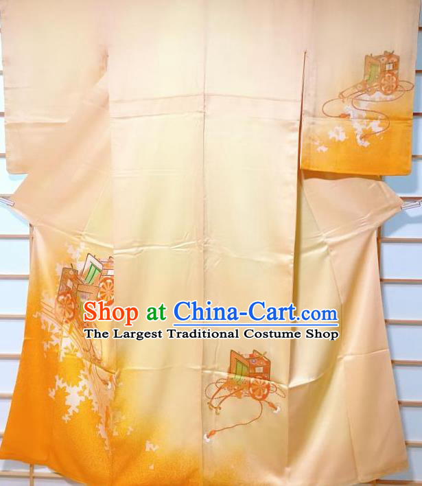 Traditional Japanese Printing Maple Leaf Yellow Furisode Kimono Japan Yukata Dress Costume for Women