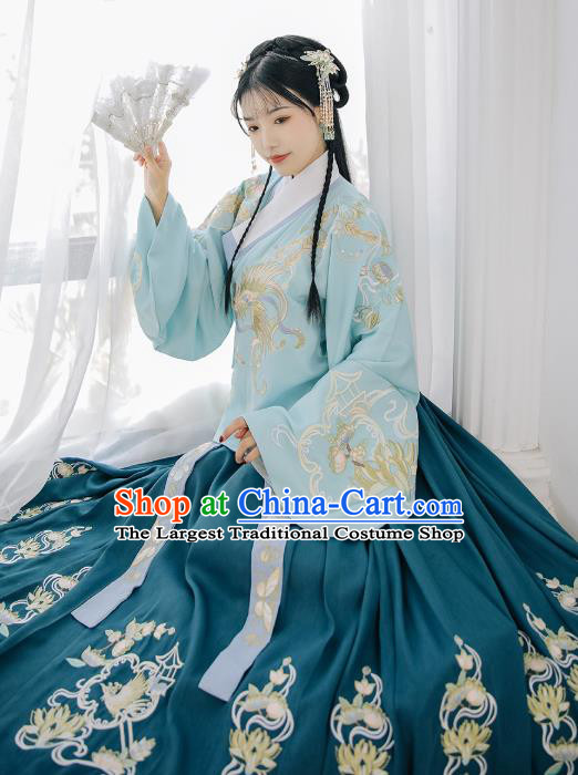 Chinese Traditional Ming Dynasty Blouse and Skirt Ancient Royal Princess Historical Costumes for Women