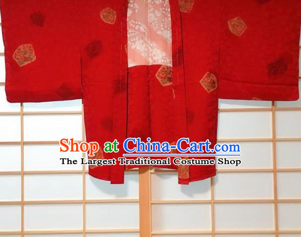 Japanese Traditional Embroidered Peony Pattern Red Haori Jacket Japan Kimono Overcoat Costume for Men