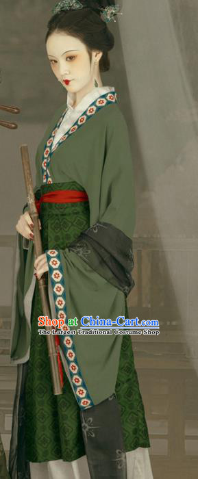 Chinese Song Dynasty Noble Dame Green Hanfu Dress Ancient Replica Costumes and Headpiece for Women
