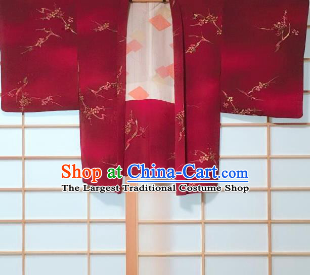 Japanese Traditional Plum Blossom Pattern Wine Red Haori Jacket Japan Kimono Overcoat Costume for Women