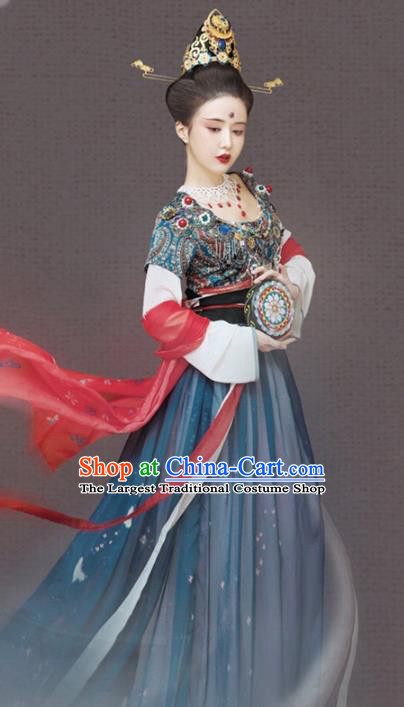 Traditional Chinese Dunhuang Flying Apsaras Hanfu Dress Ancient Tang Dynasty Court Maid Replica Costumes for Women