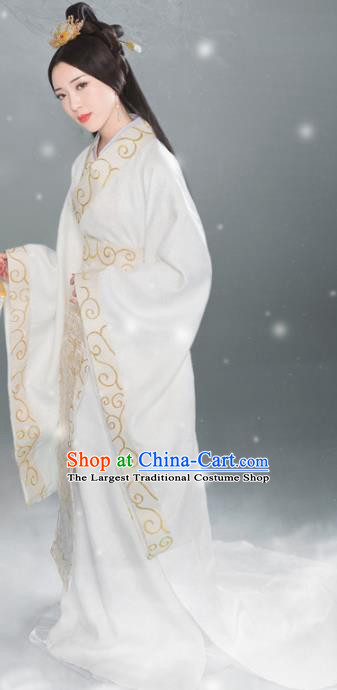 Traditional Chinese Palace White Hanfu Dress Ancient Han Dynasty Imperial Consort Replica Costumes for Women