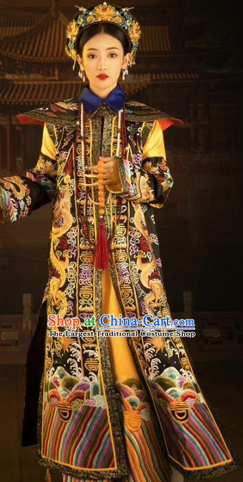 Traditional Chinese Drama Queen Embroidered Dress Ancient Qing Dynasty Imperial Consort Replica Costumes for Women