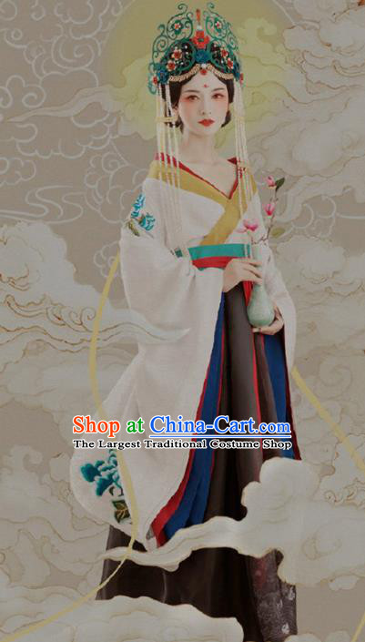 Chinese Ancient Goddess White Hanfu Dress Traditional Tang Dynasty Imperial Consort Replica Costumes for Women