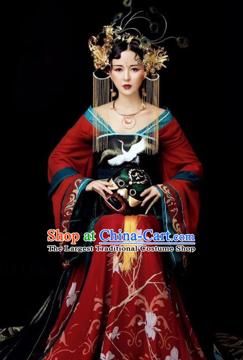 Chinese Ancient Drama Imperial Consort Red Hanfu Dress Traditional Tang Dynasty Princess Replica Costumes for Women