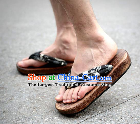 Traditional Japanese Dragon Pattern Black Geta Slippers Asian Japan Clogs Shoes for Men