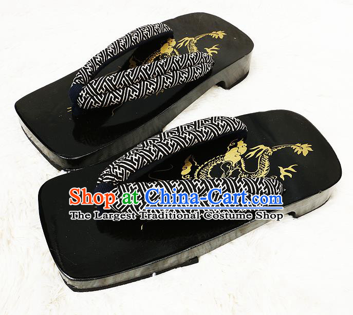 Japanese Traditional Pattern Black Flip Flops Slippers Clogs Asian Japan Geta Shoes for Men