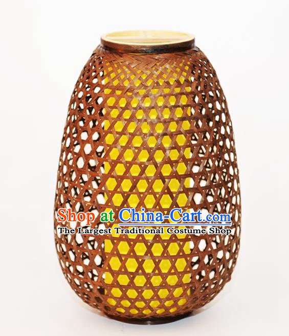 Chinese Traditional Brown Bamboo Weaving Desk Lanterns Handmade Lantern Lamp