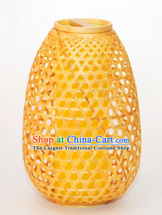 Chinese Traditional Bamboo Weaving Desk Lanterns Handmade Lantern Lamp