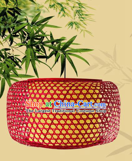 Traditional Chinese Red Bamboo Weaving Hanging Lanterns Handmade Lantern Scaldfish Lamp