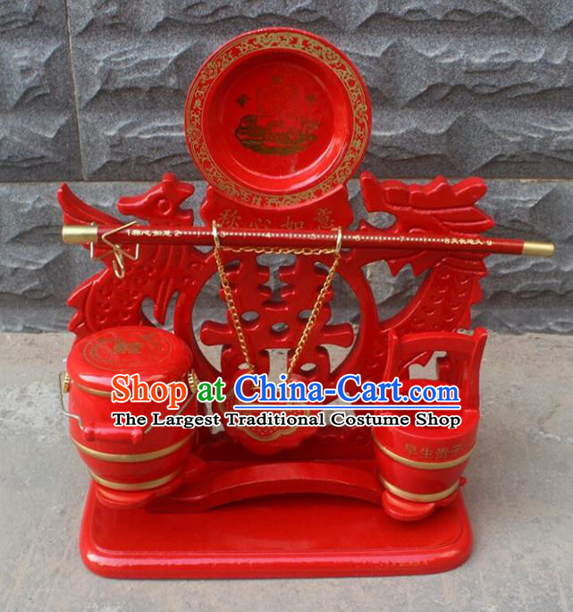 Handmade Chinese Traditional Wedding Decoration Red Sons of Barrels
