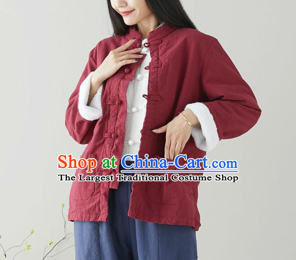 Traditional Chinese Tang Suit Red Cotton Padded Jacket Li Ziqi Costume for Women