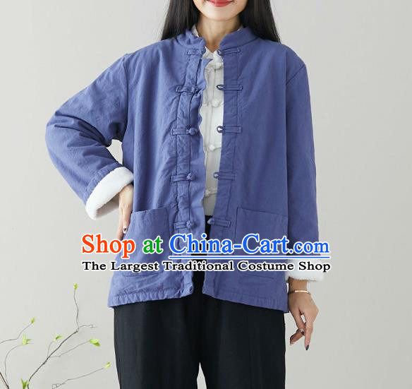 Traditional Chinese Tang Suit Blue Cotton Padded Jacket Li Ziqi Costume for Women