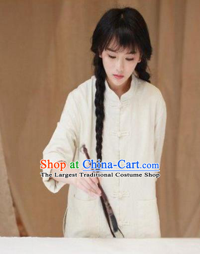 Traditional Chinese Tang Suit White Flax Shirt Li Ziqi Blouse Upper Outer Garment Costume for Women