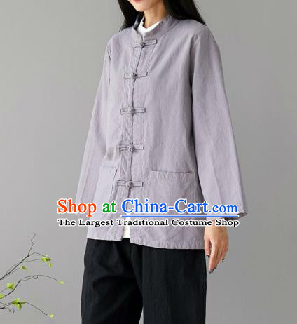 Traditional Chinese Tang Suit Grey Flax Jacket Li Ziqi Short Overcoat Costume for Women