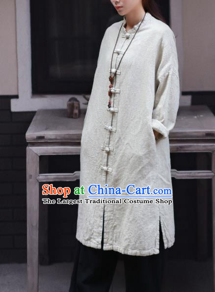 Traditional Chinese Tang Suit White Flax Dust Coat Li Ziqi Overcoat Costume for Women