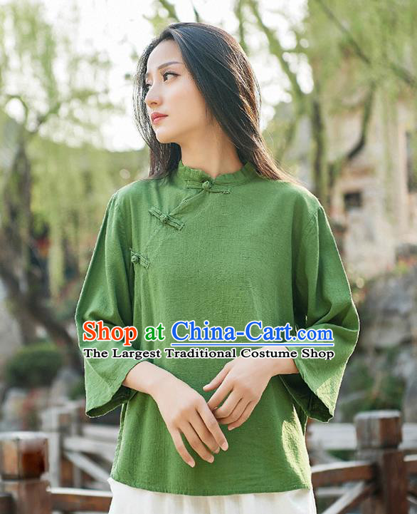 Traditional Chinese Tang Suit Green Flax Slant Opening Shirt Li Ziqi Blouse Upper Outer Garment Costume for Women