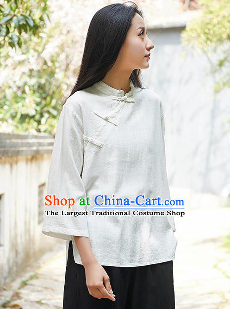 Traditional Chinese Tang Suit White Flax Slant Opening Shirt Li Ziqi Blouse Upper Outer Garment Costume for Women