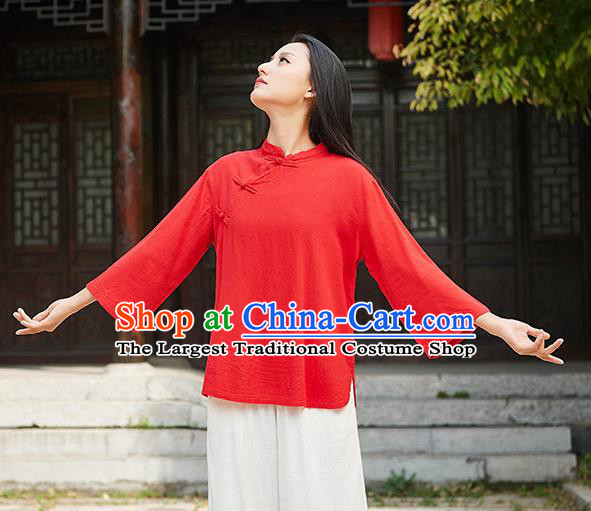 Traditional Chinese Tang Suit Red Flax Slant Opening Shirt Li Ziqi Blouse Upper Outer Garment Costume for Women