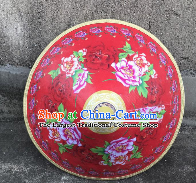 Handmade Chinese Printing Peony Red Straw Hat Traditional Bamboo Hat Craft